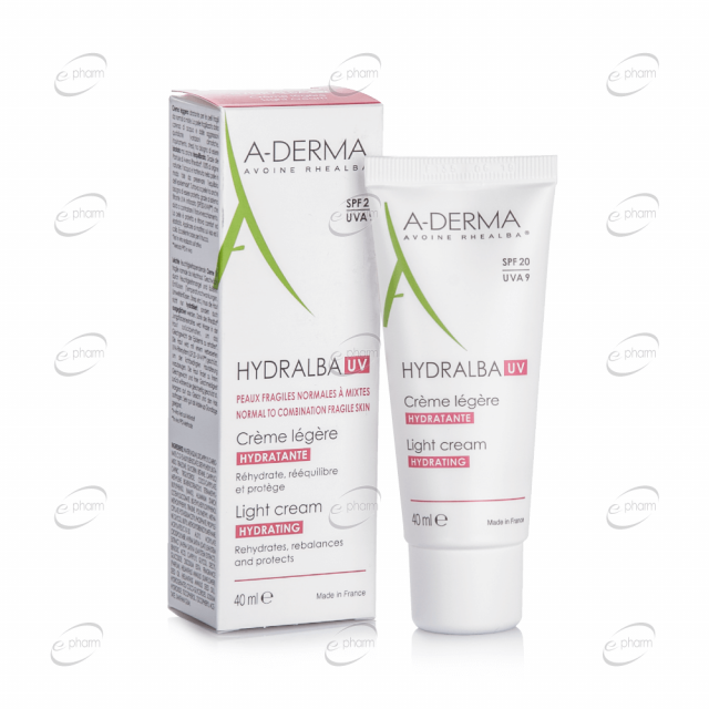 A-DERMA HYDRALBA UV хидратиращ лек крем